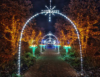 Christmas alley. Christmas decorated street with holiday lights royalty free stock photo