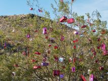Christmas along historic Route 66 at Oatman. Creosote is decorated for the holidays, Oatman, Arizona Stock Photo
