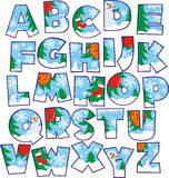 Christmas alphabet. Decorative letters with winter and Christmas elements Royalty Free Stock Photos