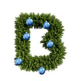 Christmas alphabet ABC character letter B font with Christmas ball. Christmas tree branches capital letters decoration type with stock illustration