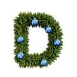Christmas alphabet ABC character letter D font with Christmas ball. Christmas tree branches capital letters decoration type with royalty free illustration