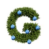 Christmas alphabet ABC character letter G font with Christmas ball. Christmas tree branches capital letters decoration type with vector illustration