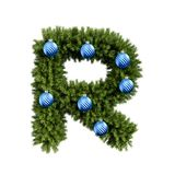 Christmas alphabet ABC character letter R font with Christmas ball. Christmas tree branches capital letters decoration type with. Christmas sphere. Highly vector illustration