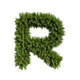 Christmas tree letter R. Christmas alphabet ABC character letter R font. Christmas tree branches capital letters decoration type. Highly realistic 3d rendering royalty free illustration