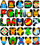 Christmas Alphabet/eps. Bold capital alphabet with colorful Christmas illustrations corresponding to each letter Stock Photo