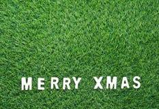 Christmas alphabet on green grass. Celebration of New year and Christmas, Top view Christmas alphabet on green grass background Stock Photos