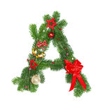 Christmas Alphabet Letter A. Isolated on white background Royalty Free Stock Images
