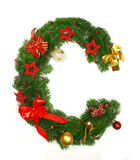 Christmas Alphabet Letter C. Isolated on white background Stock Images