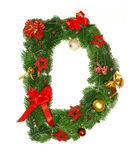 Christmas Alphabet Letter D. Isolated on white background Royalty Free Stock Photos