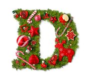 Christmas alphabet letter D stock photos