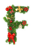 Christmas Alphabet Letter F. Isolated on white background Stock Photos