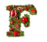 Christmas alphabet letter F stock photo
