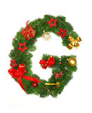 Christmas Alphabet Letter G. Isolated on white background Royalty Free Stock Photo