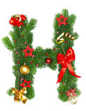 Christmas Alphabet Letter H. Isolated on white background Royalty Free Stock Photos