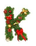Christmas Alphabet Letter K. Isolated on white background Royalty Free Stock Image