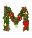 Christmas Alphabet Letter M. Isolated on white background Royalty Free Stock Photos