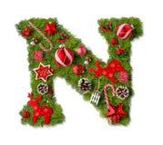 Christmas alphabet letter N stock images