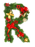 Christmas Alphabet Letter R. Isolated on white background Stock Images