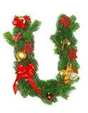 Christmas Alphabet Letter U. Isolated on white background Stock Photos