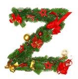 Christmas Alphabet Letter Z. Isolated on white background Royalty Free Stock Photos