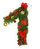 Christmas Alphabet Number 1. Isolated on white background Stock Photos