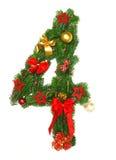 Christmas Alphabet Number 4. Isolated on white background Royalty Free Stock Photos