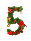 Christmas Alphabet Number 5. Isolated on white background Royalty Free Stock Photo
