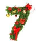 Christmas Alphabet Number 7. Isolated on white background Royalty Free Stock Photos
