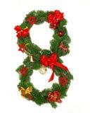 Christmas Alphabet Number 8. Isolated on white background Stock Photo