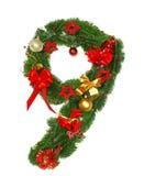 Christmas Alphabet Number 9. Isolated on white background Royalty Free Stock Photo