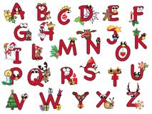 Christmas alphabet. Red christmas alphabet with happy letters Royalty Free Stock Photography