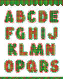 Christmas alphabet set, part 1. Christmas red and green alphabet set (part one, letters A - S) and design elements Stock Image