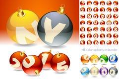 Christmas alphabet set. Ultimate set of alphabet font symbols on Christmas balls Royalty Free Stock Photography