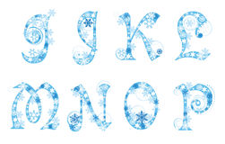 Christmas alphabet with snowflakes Stock Photos