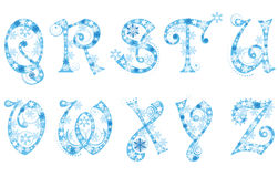 Christmas alphabet with snowflakes Royalty Free Stock Photography