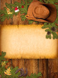 Christmas American background with cowboy hat and old paper. Christmas  background with cowboy hat and old paper for text Stock Photography