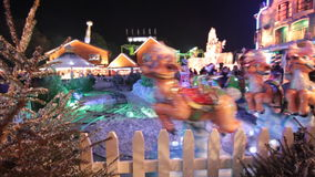 Christmas amusement park stock footage