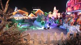 Christmas amusement park stock footage
