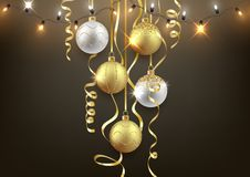 Free Christmas And New Year Background Design, Decorative Balls Stock Image - 127181381