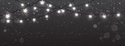 Free Christmas And New Year Background With Lights, Xmas Decorations Glowing White Garlands. Stock Photo - 132890130