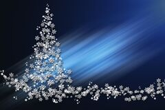 Free Christmas And New Year Blue Glowing Background With A Christmas Tree Made Of Volumetric White Stars And Snowflakes Royalty Free Stock Images - 198866489