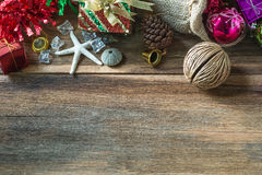 Christmas And New Year Decoration On Wooden Background Royalty Free Stock Photos