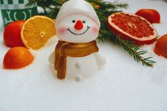 Christmas And New Year Decorations Snowman And Fruits In The Snow Background Royalty Free Stock Photo