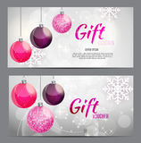 Christmas And New Year Gift Voucher, Discount Coupon Template Vector Illustration Royalty Free Stock Photos