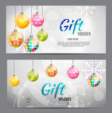 Christmas And New Year Gift Voucher, Discount Coupon Template Vector Illustration Stock Images