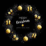 Christmas And New Year Gold Holiday Wreath Stock Images