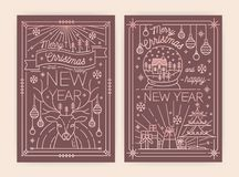 Free Christmas And New Year Greeting Card Templates With Traditional Holiday Decorations Drawn With Contour Lines - Deer Royalty Free Stock Photos - 133672318