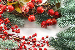 Christmas And New Year Greeting Card With Berries And Conifer Royalty Free Stock Image