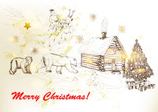 Christmas And New Year Greeting Card With Santa, Bears, House In Royalty Free Stock Images