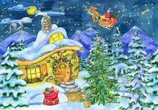 Christmas And New Year Greeting Card With Santa, Cottage House And Fir Tree In Snow Stock Photo